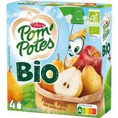 POM'POTES Gourdes bio pomme poire sans sucres ajoutés sans conservateur 4x90g