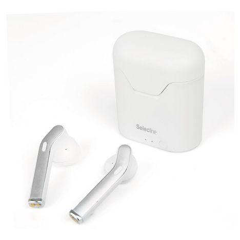 SELECLINE Écouteurs Bluetooth avec étui de recharge - Blanc - 150093