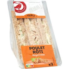 AUCHAN Sandwich triple poulet et mayonnaise 230g