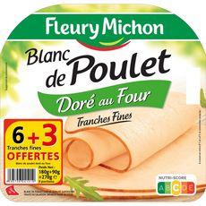 FLEURY MICHON Fleury Michon Blanc de poulet doré au four 6 tranches+3 offertes 270g 9 tranches 270g