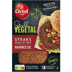 CEREAL BIO Céreal Steak végétal de soja et blé au barbecue 160g 2 pièces 160g