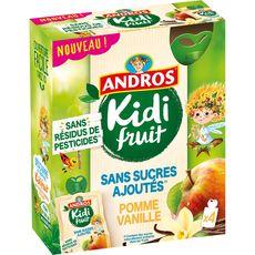 Andros Kidifruit gourdes pomme vanille sans sucres ajoutés 4x85g