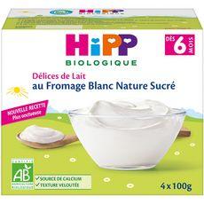 HIPP Petit pot dessert au fromage blanc nature sucré bio dès 6 mois 4x100g