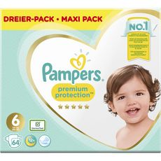 PAMPERS Premium protection mega pack couches taille 6 (+13kg) 64 couches