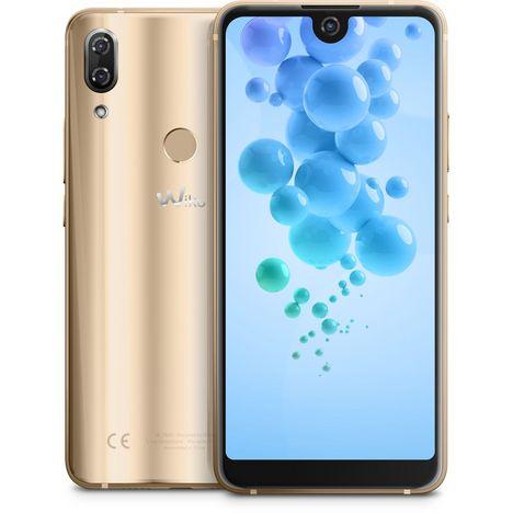 WIKO Smartphone View2 Pro Qwant 64 Go 6 pouces Or 4G Double NanoSIM + Coque de protection