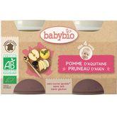 Babybio Pot bio pomme pruneau 4 mois 2x130g