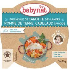 Babybio assiette bio légumes cabillaud 260g dès 15 mois