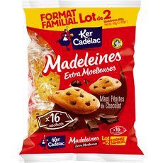 Ker Cadelac madeleines maxi aux pépites de chocolat 2x400g