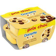 DANETTE Crème dessert à la vanille et billes soufflées enrobées de 3 chocol