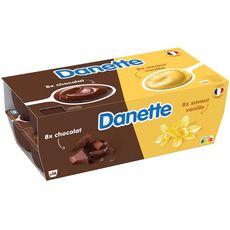DANETTE Crème dessert chocolat vanille 16x125