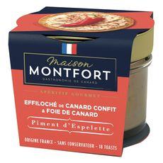 Montfort Effiloché de canard confit et foie de canard piment espelette 90g
