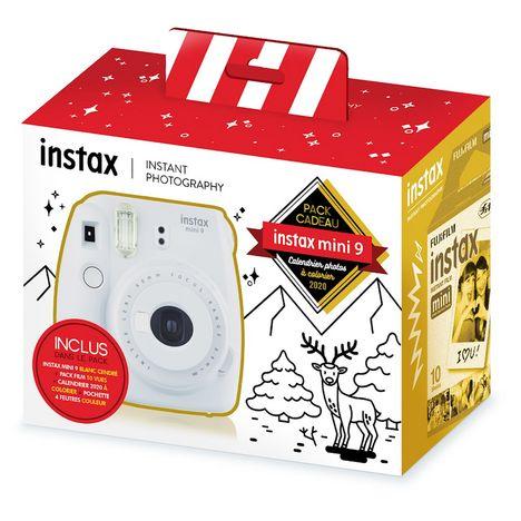 FUJIFILM Pack Cadeau Appareil photo instantané Instax Mini 9 - Blanc cendré + Calendrier 2020 photos à colorier + 10 films format Mini + 4 feutres couleurs