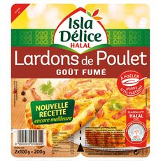 ISLA DELICE Lardons de poulet fumé halal 2x100g 2x100g
