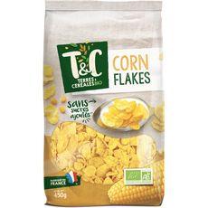 TERRES ET CEREALES BIO Corn Flakes céréales nature sans sucres ajoutés 450g