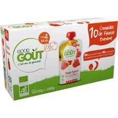 GOOD GOUT Good goût Gourde dessert fraise banane bio dès 4 mois 10x120g 10x120g