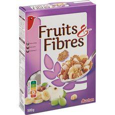 AUCHAN Fruits & fibres céréales aux fruits 500g