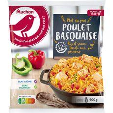 AUCHAN Poulet basquaise et riz 3 portions 900g