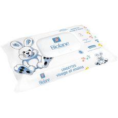 Biolane Lingettes visage et mains 100% biodégradables pour bébé x64