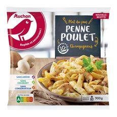 AUCHAN Penne au poulet champignons 3 portions 900g