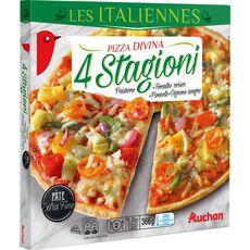 AUCHAN Pizza poivrons, tomates cerise, piments oignons rouges 366g