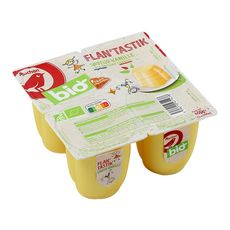AUCHAN BIO Auchan Bio Flan à la vanille filière responsable 4x100g 4x100g