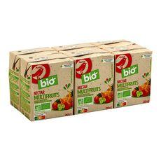 AUCHAN BIO Nectar multifruits sans sucre ajouté briquettes 6x20cl
