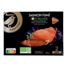 AUCHAN MMM! Mmm! saumon fumé bio Irlande 2 tranches 80g