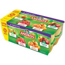 Andros compote pomme poire, fraise, abricot 16x100g offre découverte