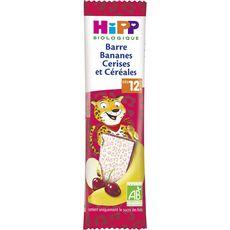Hipp bio barre bananes cerises et céréales 25g dès 12 mois