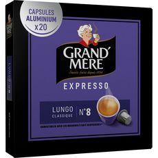 GRAND'MERE Grand'Mère Capsules café lungo classique n°8 compat.Nespresso x20 -104g 20 capsules 104g