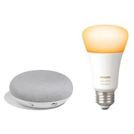 GOOGLE Kit pour éclairage connecté : Google Home Mini + Ampoule connectée Philips Hue White ambiance