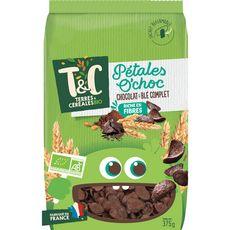 TERRES ET CEREALES BIO Pétales o'choc céréales au chocolat et blé complet 375g