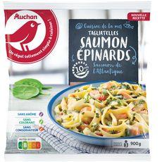 AUCHAN Tagliatelles au saumon et aux épinards 3 portions 900g