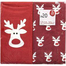 ACTUEL Actuel Serviettes en papier 33x33cm décorées cerfs x20 3 plis 20 pièces