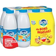 LACTEL Lactel Lait demi-écrémé petit-déjeuner 8x1l 8x1l