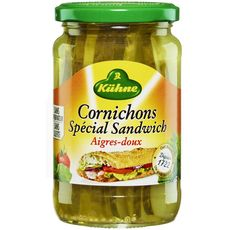 KUHNE Cornichons spécial sandwich aigres-doux sans conservateur sans sulfite 185g