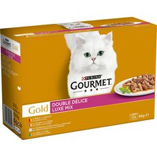 GOURMET Gold double délice boîtes pâtée viandes poissons pour chat 12x85g