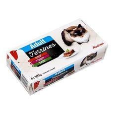 AUCHAN Auchan Adult assortiment de barquettes terrines viandes pour chat 4x100g 4x100g