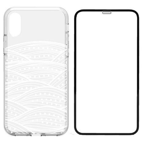 QILIVE Lot coque + protection d'écran pour iPhone X/XS - Transparent