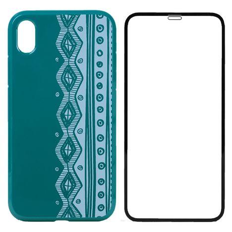 QILIVE Lot coque + protection d'écran pour iPhone XR - Bleu