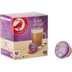 AUCHAN Capsules de café au lait compatibles Dolce Gusto 10 capsules 100g