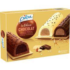 PILPA Bûchette glacée délice de chocolat lait blanc et noir 6 pièces 360g