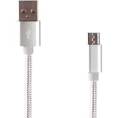 QILIVE Lot de 3 câbles de charge USB vers Micro USB - Argent
