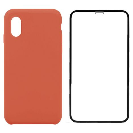 QILIVE Lot coque + protection d'écran pour iPhone X/XS - Orange