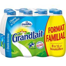 CANDIA Grand Lait demi écrémé stérilisé U.H.T. 8x1 litre