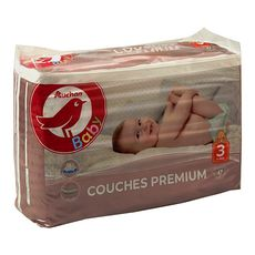 AUCHAN BABY Couches premium taille 3 (4-9kg) 47 couches