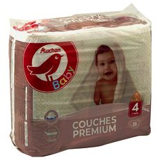 AUCHAN BABY Couches premium taille 4 (7-18kg) 39 couches