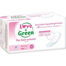 Love and Green Serviettes fuites urinaires hypoallergéniques normal x12