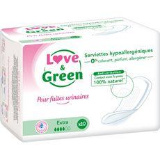 Love and Green Serviettes pour fuites urinaires hypoallergéniques extra x10