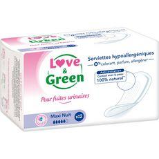 Love and Green Serviettes fuites urinaires hypoallergéniques maxi nuit x12